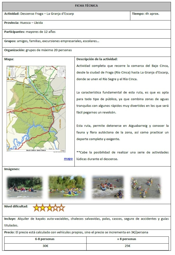 descenso Fraga - La Granja d'Escarp